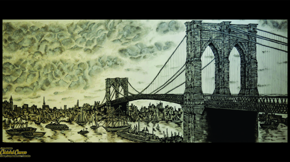 Puente Brooklin dibujo arte Brooklin Bridge Draw 1